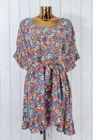AMERICAN VINTAGE Damen Kleid 100% Cupro Geblümt Oversized Bunt Kurzarm Gr.XS/S