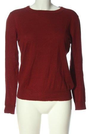 American Vintage Cienki sweter z dzianiny czerwony Warkoczowy wzór