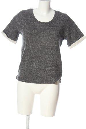 American Vintage Pull à manches courtes gris clair moucheté