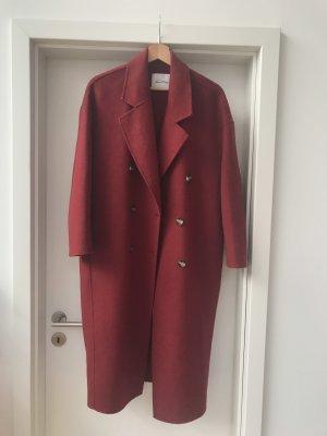 American Vintage Wełniany płaszcz głęboka czerwień-ciemnoczerwony Bawełna