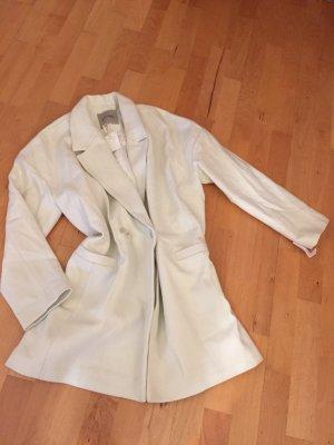 American Vintage Wełniany płaszcz biały-jasnoszary