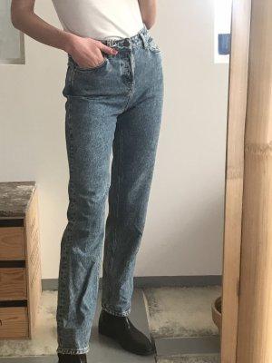 American Vintage Jeans coupe-droite bleu foncé-bleu coton