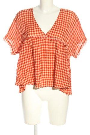 American Vintage Rüschen-Bluse rot-weiß Allover-Druck Casual-Look