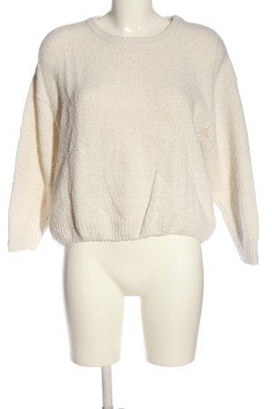 American Vintage Jersey de cuello redondo blanco puro punto trenzado look casual