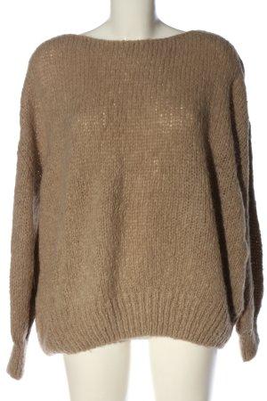 American Vintage Kraagloze sweater bruin gestippeld casual uitstraling