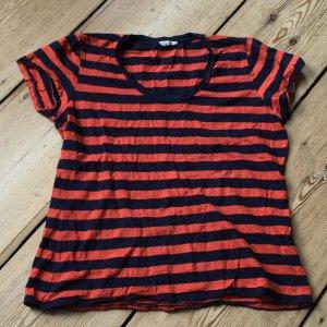 American Vintage T-shirt donkerblauw-oranje