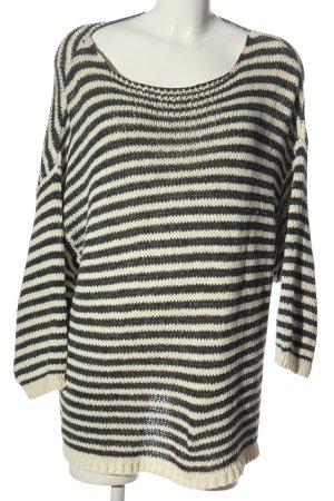 American Vintage Pull tricoté noir-blanc cassé motif rayé style décontracté
