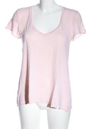 American Vintage T-shirt col en V blanc moucheté style décontracté