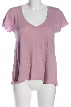 American Vintage V-Ausschnitt-Shirt pink meliert Casual-Look