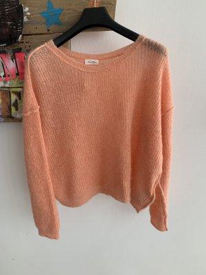 American Vintage Sweter z grubej dzianiny brzoskwiniowy Wełna z alpaki