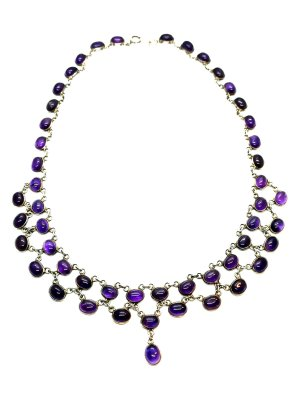 Necklace silver-colored-dark violet real silver