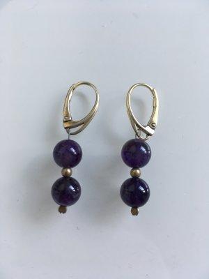 Boucles d'oreilles en argent violet foncé tissu mixte