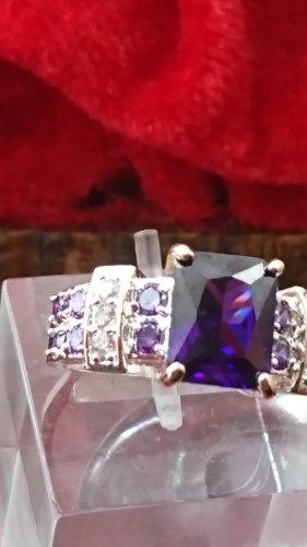 Amethyst Złoty pierścionek srebrny-ciemny fiolet