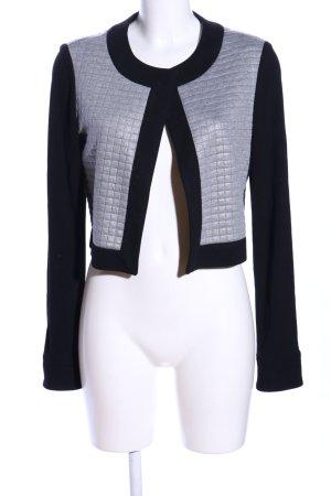 amiable Veste courte noir-gris clair motif de courtepointe style décontracté