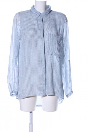 amichi Transparenz-Bluse blau Allover-Druck Business-Look