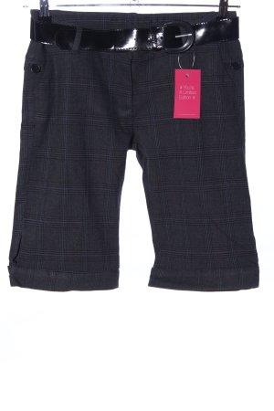 Amisu Pantalon 3/4 noir-gris clair motif à carreaux style décontracté