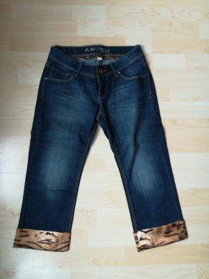 Amisu Pantalon 3/4 bleu foncé