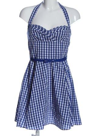 Amisu A-Linien Kleid blau-weiß Allover-Druck Casual-Look