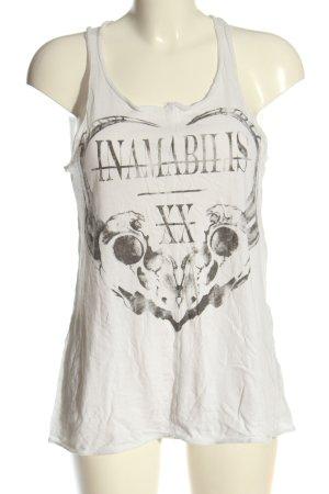 Amisu Top o kroju litery A biały-jasnoszary Nadruk z motywem W stylu casual