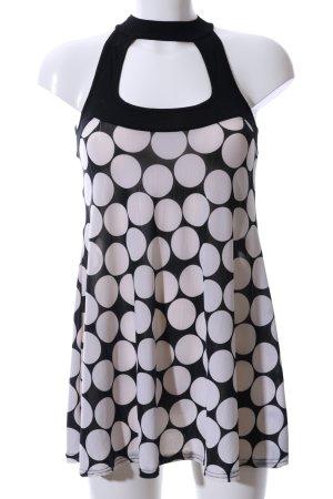 Amisu A-Linien Top schwarz-weiß Punktemuster Casual-Look