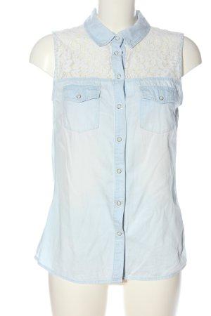 Amisu Mouwloze blouse blauw-wit casual uitstraling