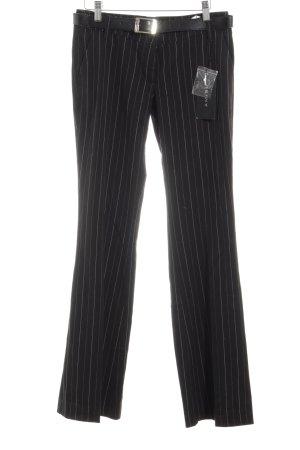 Amisu Pantalón de vestir negro-blanco estampado a rayas estilo «business»
