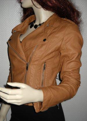 Amisu Biker Lederjacke Jacke Kurzform Leder Imitat cognac braun camel 36 38 S M