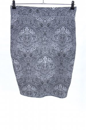 Amisu Bleistiftrock hellgrau-schwarz abstraktes Muster Casual-Look