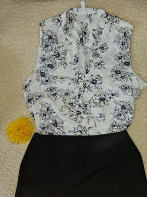 Amisu Blusa sin mangas blanco-negro