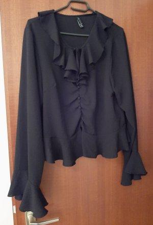 Amisu Bluse Shirt Top Crop Krop Cropbluse Kropbluse Rüschen Volant Knöpfe