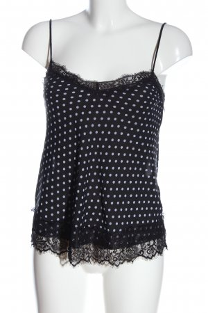 Amisu Blouse topje zwart-wit gestippeld patroon elegant