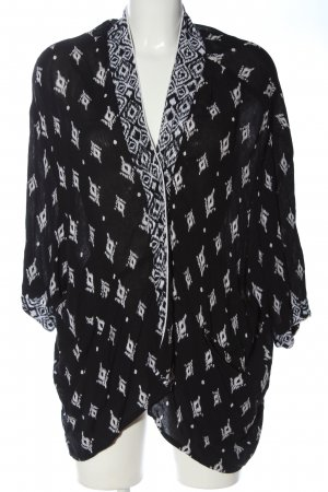 Amisu Cardigan weiß-schwarz abstraktes Muster Casual-Look