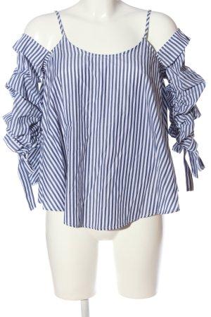 Amisu Blouse Carmen bleu-blanc motif rayé style décontracté