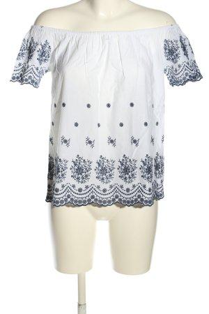 Amisu Carmen-Bluse weiß-blau Blumenmuster Casual-Look