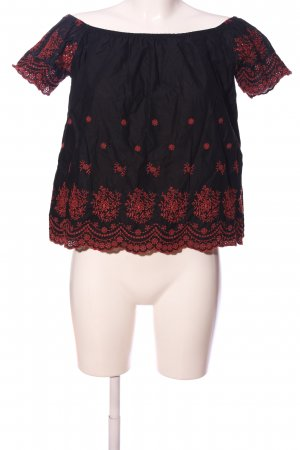 Amisu Carmen-Bluse schwarz-rot Blumenmuster Casual-Look