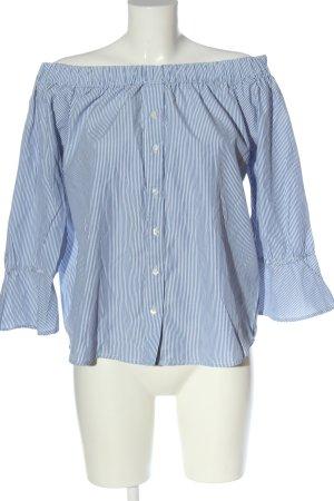 Amisu Carmen-Bluse blau-weiß Streifenmuster Elegant