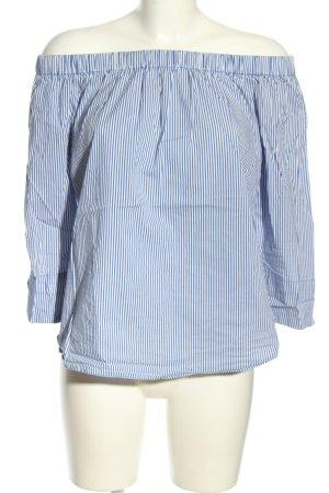 Amisu Carmen-Bluse blau-weiß Streifenmuster Casual-Look