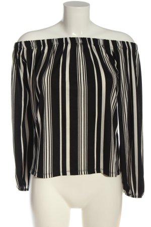 Amisu Carmen-Bluse schwarz-weiß Allover-Druck Casual-Look