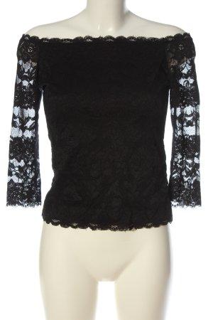 Amisu Carmen shirt zwart elegant