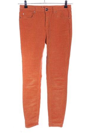 Amisu Pantalon en velours côtelé orange clair style décontracté