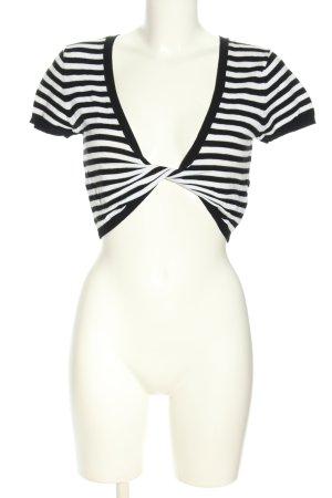 Amisu T-shirt court noir-blanc motif rayé style décontracté