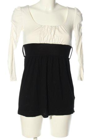 Amisu Koszula z odcięciem pod biustem czarny-biały W stylu casual