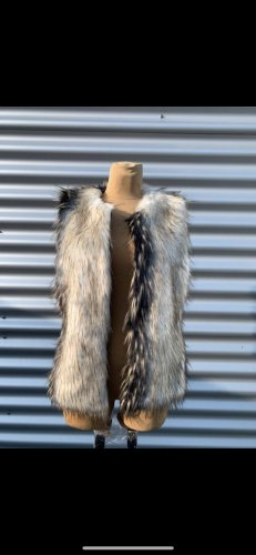 Amisu Fake Fur Vest black-cream