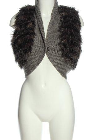 Amisu Fur vest light grey-black cable stitch party style