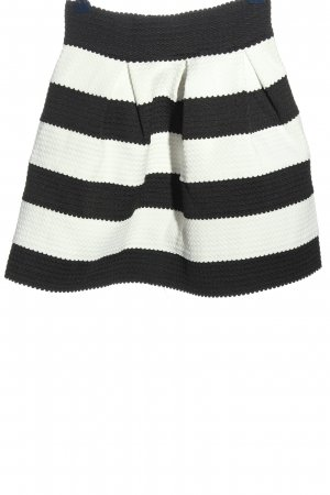 Amisu Glockenrock weiß-schwarz Streifenmuster Casual-Look