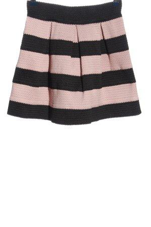 Amisu Gonna a campana nero-rosa motivo a righe stile casual
