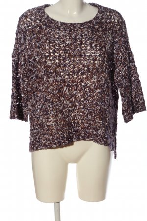 Amisu Crochet Sweater brown cable stitch casual look
