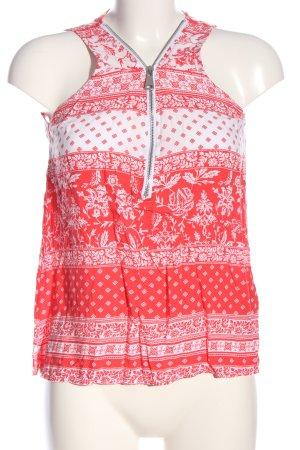 Amisu Hemd-Bluse rot-weiß Allover-Druck Casual-Look