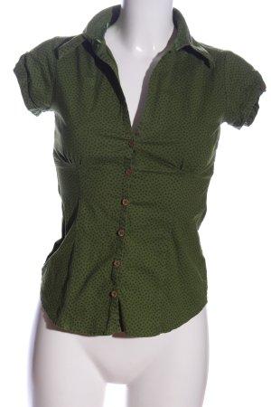 Amisu Hemd-Bluse grün-schwarz Allover-Druck Casual-Look