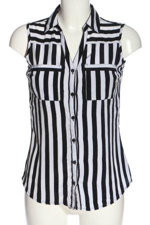 Amisu Hemd-Bluse weiß-schwarz Streifenmuster Casual-Look